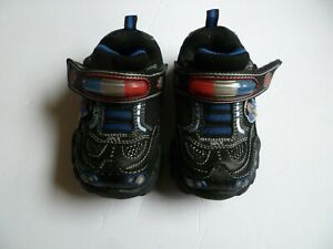 Skechers sneakers size 6 little boy light up police shoes black red and blue