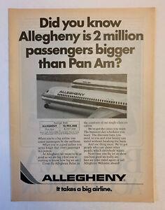 1978 Allegeheny Print Ad Original Airway Air Plane Travel 2M Bigger Than Pan Am