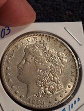 1903 S Morgan Dollar  AU  FIELDS DEVICES CLEAN CHEEK  LUSTER SHINE!