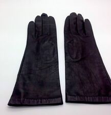 Women's Vintage Dark Brown Leather Gloves Silk Lined from Phillipines Size 6 1/2