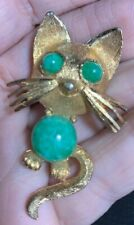 Signed B.S.K. Vintage Cat Figural Jelly Belly Brooch Pin