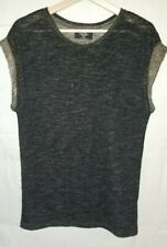 Hollywood Trading Company Short Sleeve Shirt Top Black Gold Wool Blend