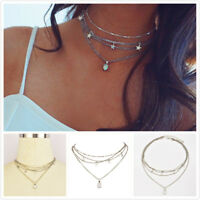 1Pcs Silver Plated Fashion Women Charm Multilayer Star Tassel Choker Necklace