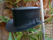 BLACK LEATHER COACHMAN /RIVERBOAT GAMBLER HAT HAND MADE IN AUSTRALIA