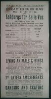 OLD POSTER, CHEAP EXCURSIONS BY LNER TO ASHBURYS FOR BELLE VUE 9/10TH APRIL 1928