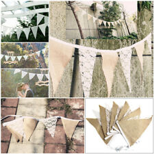 3m Jute Wedding Bunting Banner Vintage Shabby Rustic Hessian Burlap Party Decor