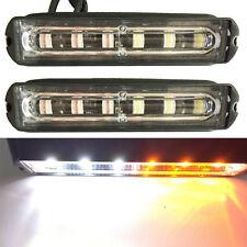 2x White Amber Truck Trailer ATV Emergency 6 LED Light Bar Hazard Strobe Warning