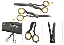 """Professional Hairdressing 5.5"""" Inch Hair Cutting and Thinning Scissors Set Black"""
