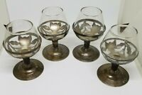 """Set of 4 Vintage Taxco Sterling Silver Sherry Cordial Brandy Snifter Glasses 3"""""""