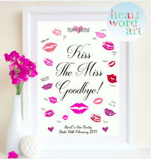 Hen Party Bride To Be Accessories Game Gift Personalised Kiss The Miss Do Print.