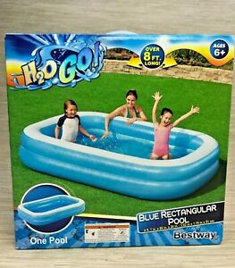 Bestway H2O GO! Blue Rectangular Pool Over 8 Feet Long Textured Pattern 206 Gal