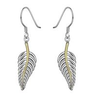 New products wholesale jewelry 925 Sterling silver Feather Earring Free shipping