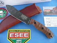 ESEE JG5 James Gibson Knife 1095 Carbon Steel Tan Micarta Leather Sheath