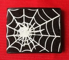 100% GENUINE SPIDERWEB STINGRAY FISH SKIN BLACK LEATHER MENS BI-FOLD WALLET