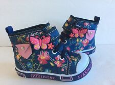 Infant Baby Girl Navy Blue Boots Shoes Size 2 With Strap
