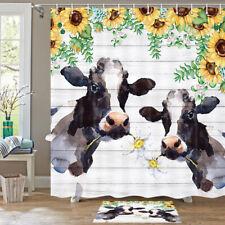 """Cow and sunflower flower Shower Curtain Bath Decor Fabric Bath Curtain 71"""""""
