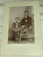 Vintage Old Cabinet Photo of a Single Father Dad Man & His Boy Son Very Sad