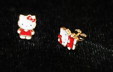 14k yellow gold hello kitty style baby stud earrings enamel red new