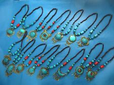 US SELLER-24 necklaces bulk lot Tibetan necklace faux gemstones wooden beads
