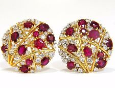 $25000 13.20ct NATURAL RED RUBY DIAMOND COCKTAIL CLUSTER EARRINGS MOD DECO STRIP