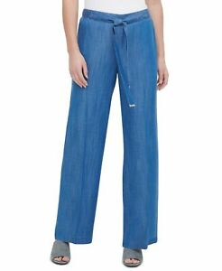 Calvin Klein Womens Pants Blue Small S Chambray Wide Leg Faux-Belted $79 037