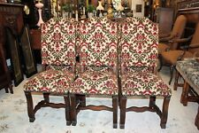 Set of 6 French Oak Louis Xiv Upholstered Antique Chairs White, Red & Green