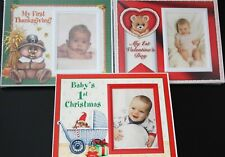 3 NEW PICTURE FRAMES BABY'S FIRST THANKSGIVING VALENTINES DAY & FIRST CHRISTMAS