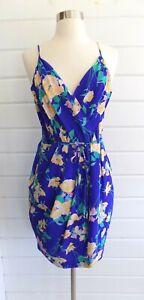 YUMI KIM Jayne Blue Floral 100% Silk Faux Wrap Short Dress -M