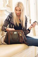 ❤BRAHMIN ARDEN SATCHEL BLACK BROWN VERMEER + WALLET TASSEL CROC LEATHER ANGULAR❤