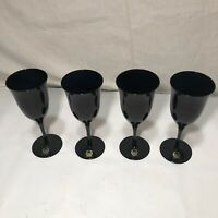 (4) Wine Claret Black Goblets Carico Fine Crystal MYSTIQUE Made In Japan 95603
