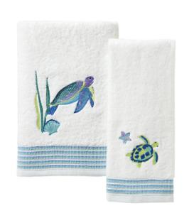 Watercolor Ocean 2 Set Bath Hand Towel Embroidered Sea Turtle Nautical Bathroom