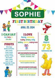 YEAR of 1st Milestone Chalkboard Birthday Print Sesame Street - Elmo Big Bird
