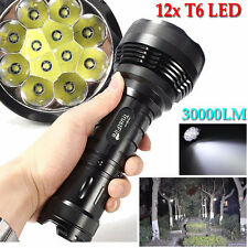 30000LM 12x XM-L T6 LED Flashlight 5 Mode Torch Light Lamp Waterproof High Power