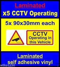 Laminado etiquetas de seguridad CCTV 5x taxi autobús automóvil Pegatinas Signo Mini Bus entrenador
