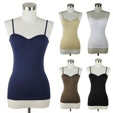 Women's Seamless Camisole Basic Tank Top Solid Padded Bra Cami Removable Strap