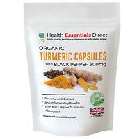 Organic Turmeric Capsules (Curcumin) + Bioperine® Strong 600mg - Choose Size: