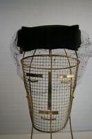 Vintage 1950's/60s Pillbox Black Velvet Hat w/ Veil Nina Neal Des Moines Iowa