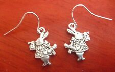 Silver Tibetan Alice In Wonderland Rabbit Drop Earrings. Free Shipping