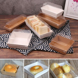 10Pcs Kraft Paper Box Sandwich Cake Pastry Wrapping Box With Plastic Clear Lid