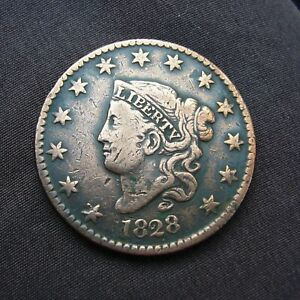 1828 Coronet Head US One Cent Penny Coin 1c Large Cent Copper Coin.