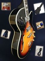 "Haze SEG-278VS Hollow-body ""F"" holes Electric Guitar,Sunburst+Soft Bag,Strap"
