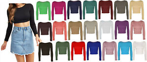 Womens Round Scoop Neck Long Sleeve Cropped Plain Basic Belly Casual Crop Top