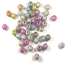 45 Perles Stardust Rondes 8mm Multicolores Scintillantes en Acrylique