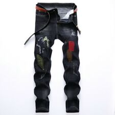 Retro Skinny Jeans Men Washed Ripped Denim pants straight casual jean Trouses