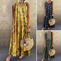 Women Floral Print Plus Size Sundress Casual Vintage Sleeveless Long Maxi Dress