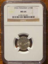 1933 Panama 1/10 Balboa NGC MS 64