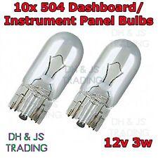 10 x 504 Capless Dashboard Instrument Light Push In Bulb Panel Bulbs 12v 3w T10