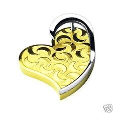 Stainless Steel & pvd Gold '3D'Moon Heart Engraved Pendant