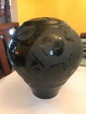 Rare Black Pop Art Vase Western Las Vegas Indian Amazing Vintage WOW!!