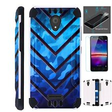 Combat Case For TCL A1 / Alcatel Insight Phone Brush Cover +TEMPERED GLASS
